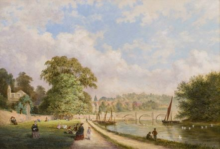 George Henry Burgess  The Old Bridge, Richmond Hill, and Part of the River Near Queen Elizabeth's Palace Framed