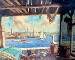 Gordon Hope Grant The Back Harbor, Gloucester unframed