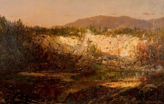 William Louis Sonntag Shadows Rising  and Sun Setting, New Hampshire