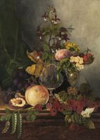 MARY JANE PEALE Still-Life with Fruit and Flowers