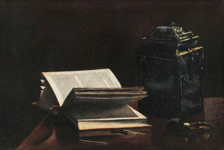 Olga Sorensen Still-life with Pipe, Books and Jar Unframed