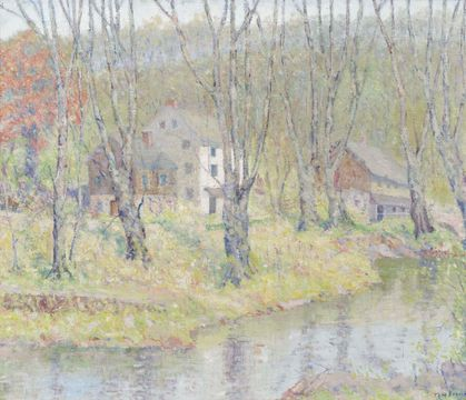 Thomas Linn Brown Houses by the River Unframed