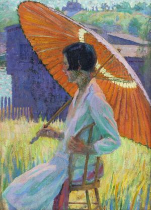 GRACE COCHRANE SANGER  Woman with Red Parasol Unframed