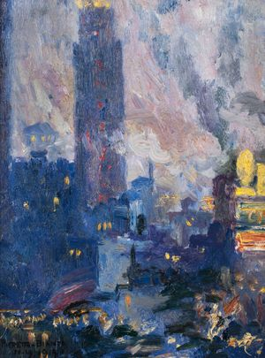 Pieretto Bianco Bortoluzzi (1875 - 1937) Notturno Bush Terminal {Bush Terminal Park at Night} Unframed