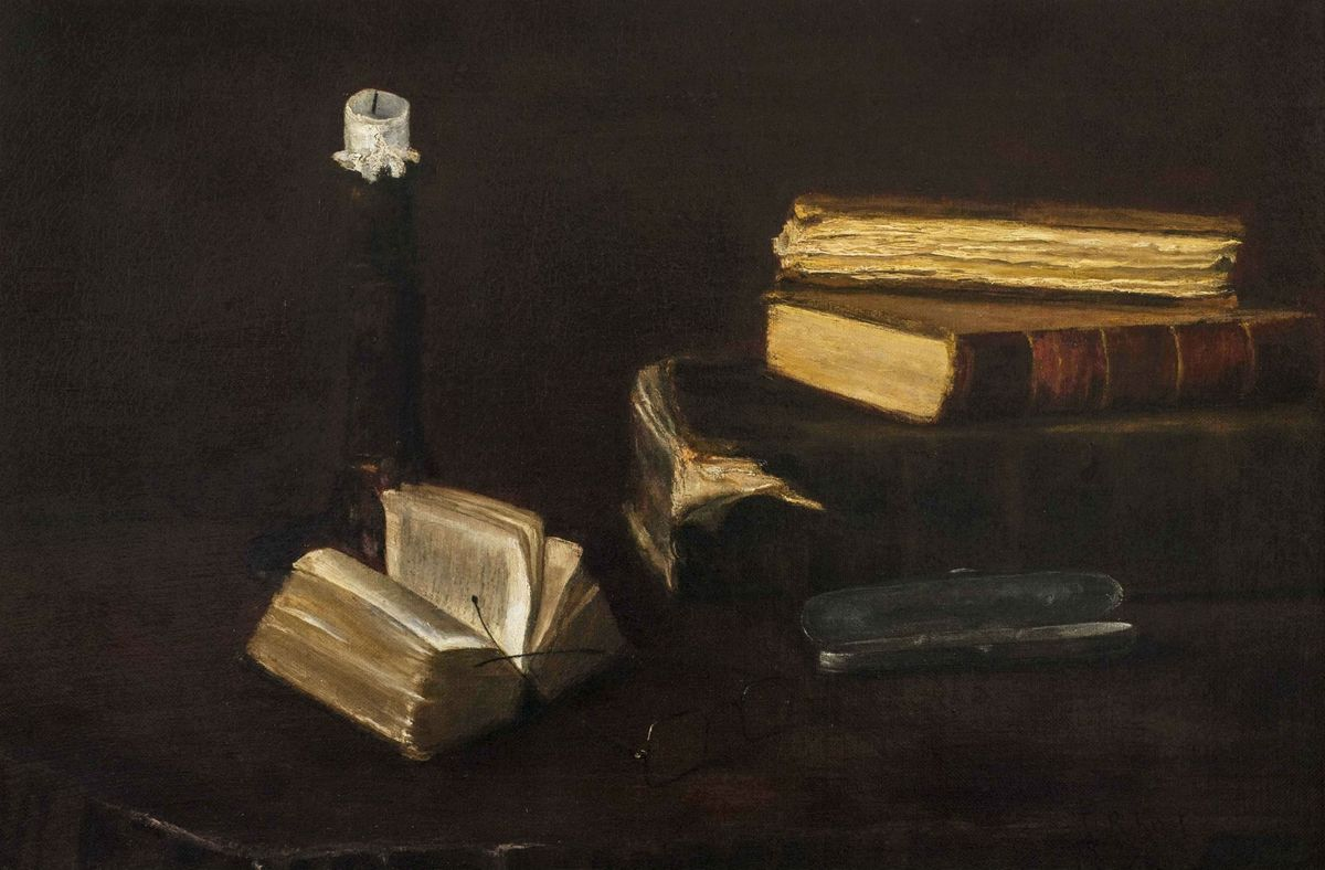 Claude Raguet Hirst Still-Life of Books, a Candlestick and Glasses Cropped