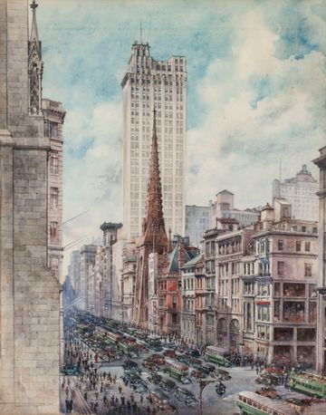 Charles Hoppin Street View, Fifth Avenue, Manhattan Unframed