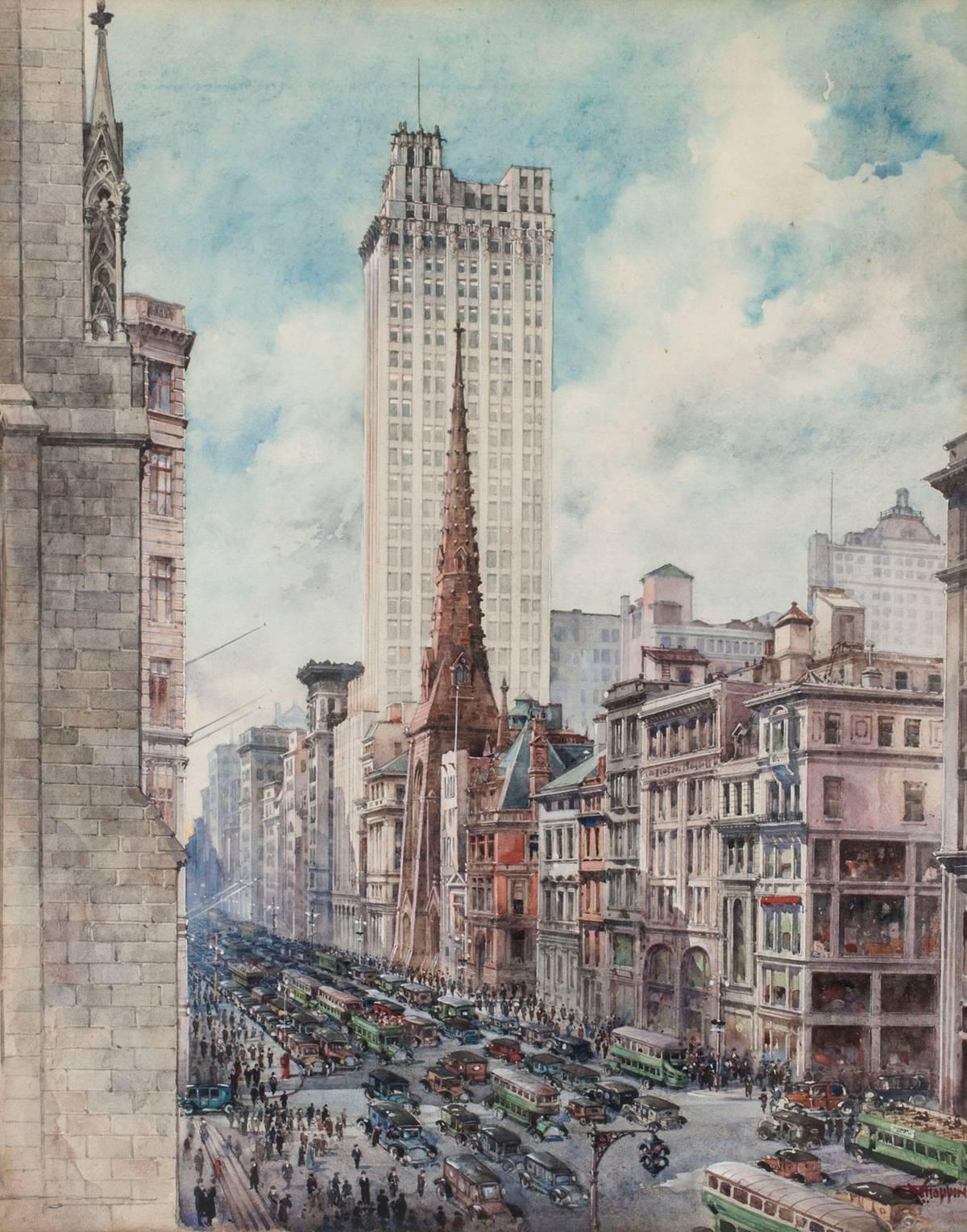 Charles Hoppin Street View, Fifth Avenue, Manhattan Unframed