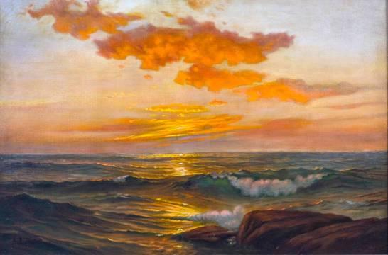 Adelaide Brooks Johnson Seascape at Sunset