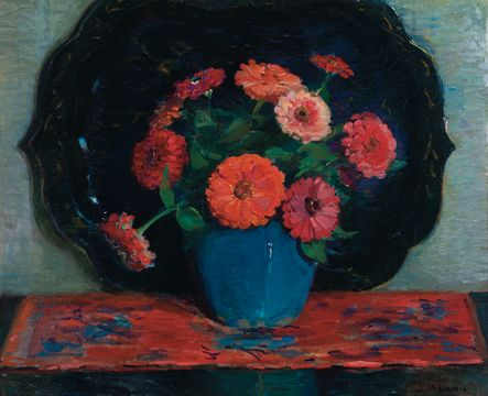 Josephine Miles Lewis Red Chrysanthimums unframed