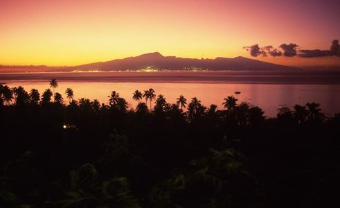 Sunrise from Moorea, looking towards Papeete, Tahiti