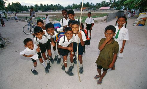 School Kids posing , Northern Atolls Maldives, Surfer Magazine