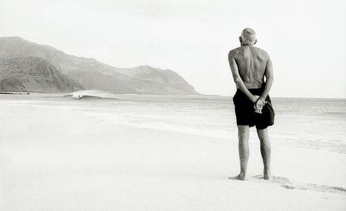 "Johm Kelly , 84 Year old Hawaiian surfing legend, Yokohama Bay, Hawaii 2001, ""Surfing Forever"""