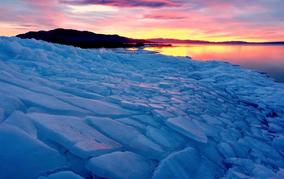 Ice and Sunset on Utah Lake