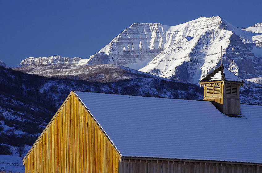 Mount Timpanogos Wilderness Area looming over the Tate Barn