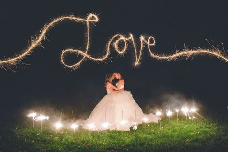 Lesbian wedding, bridal portraits with fireworks