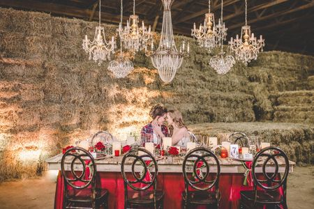 LGBT barn wedding with rustic and vintage decor