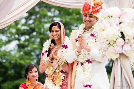 Indian wedding ceremony with mandap at Drees Pavilion in Cincinnati, Ohio