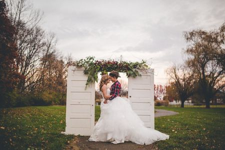 Lesbian wedding portraits with vintage decor