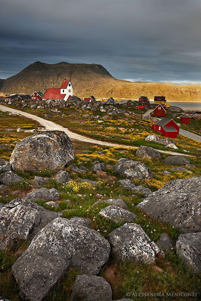 Nanortalik Village and Church, South Greenland.