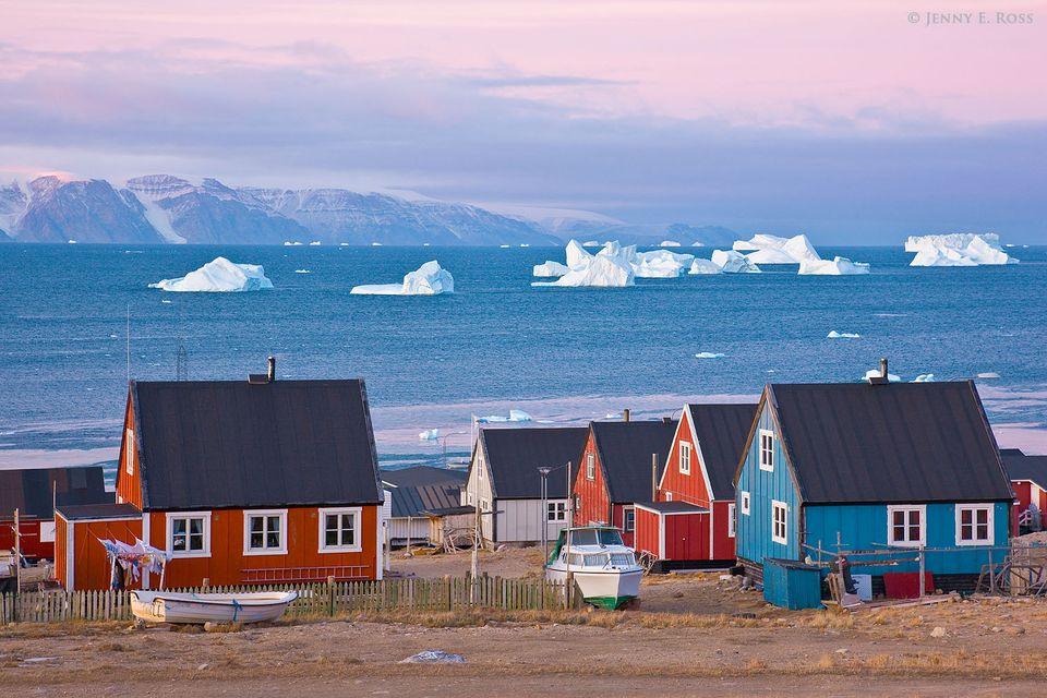 Sunrise in the town of Qaanaaq, at the edge of Murchison Sound in Baffin Bay, Northwest Greenland.
