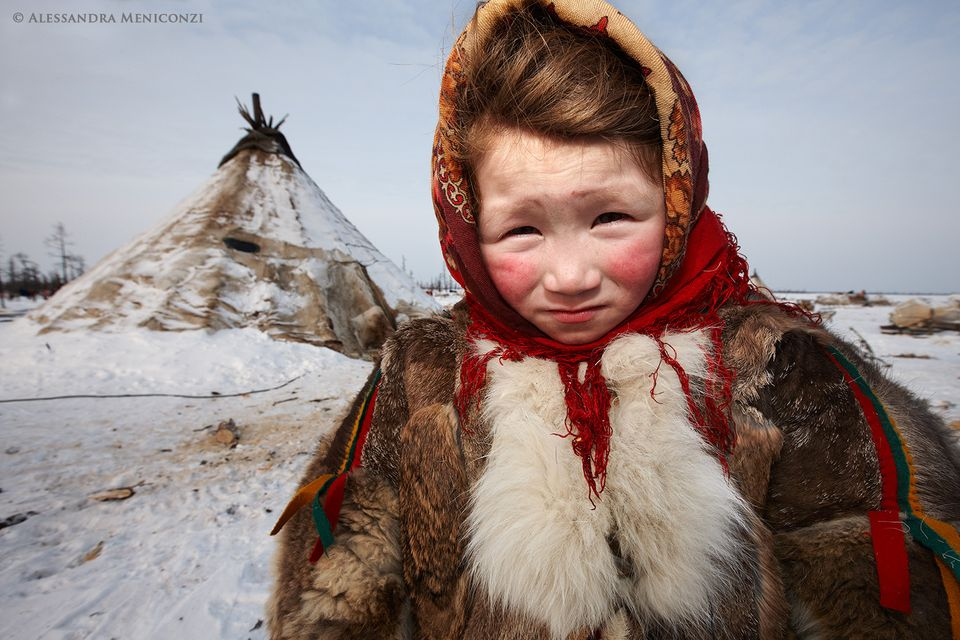 A Nenet child at her family's winter camp.