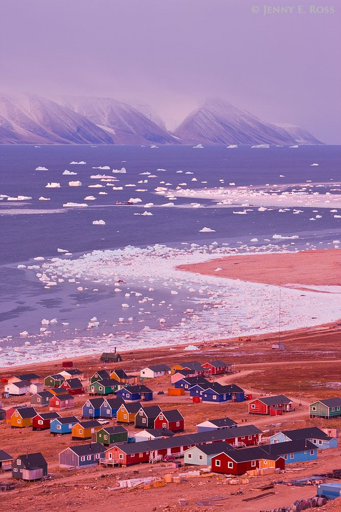 The pink glow of a mid-October dawn illuminates the colorful small houses of Qaanaaq, and the newly-forming sea ice in Murchison Sound, Baffin Bay, Northwest Greenland. Qeqertarsuaq (Herbert Island) is in the distance..
