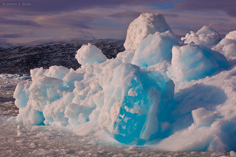 Detail of a disintegrating iceberg near Kangilerngata Sermia Glacier, West Greenland.