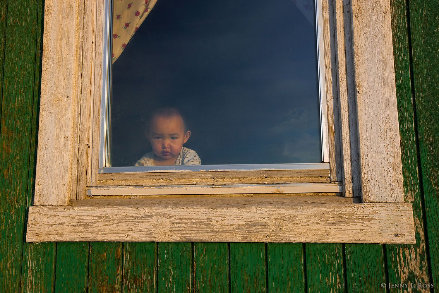 A young Inuit child looks out a window in Qaanaaq, Northwest Greenland.