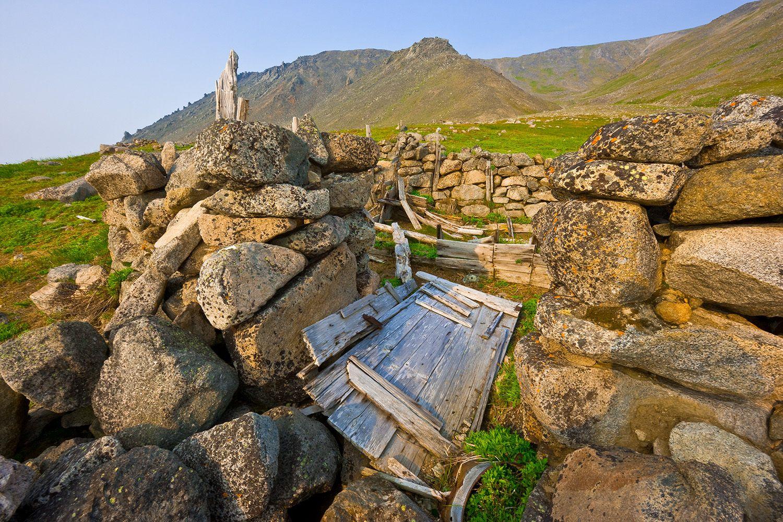 Ancient Chukchi village site, Cape Dezhnev, Chukotka, Bering Strait, Russia.