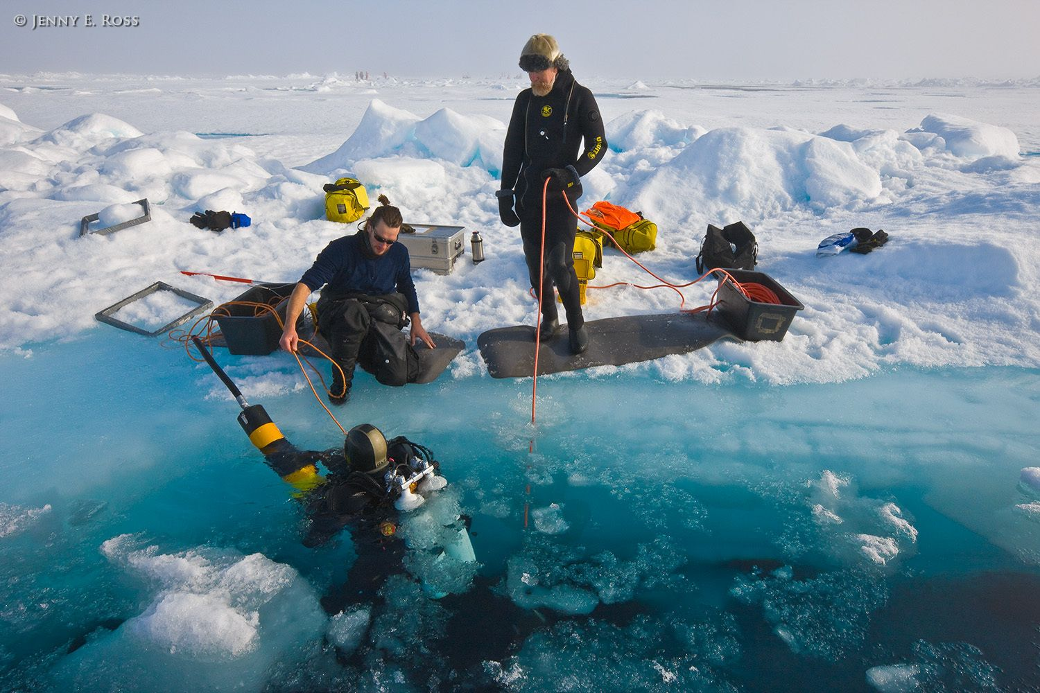 Scientific research on arctic sea ice, central polar basin, Arctic Ocean