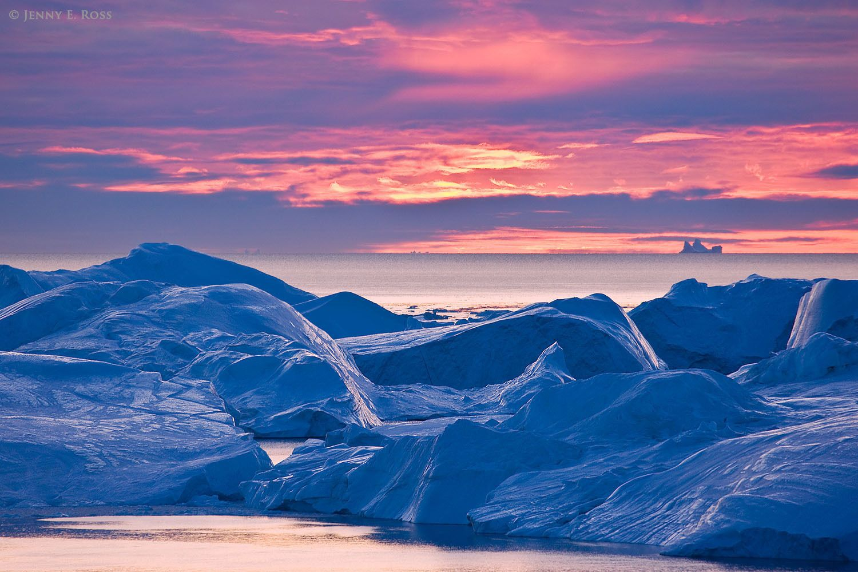 Immense melting icebergs at Isfjeldbanken (the Iceberg Bank), Ilulissat Icefjord, Disko Bay, West Greenland.