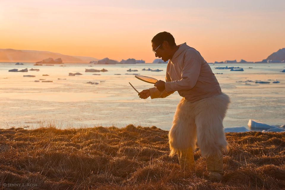 Traditional Inuit drum dance, Baffin Bay, Northwest Greenland.