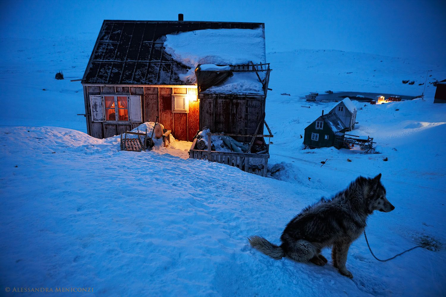 Hunter's home in the small settlement of Tiniteqilaaq at the edge of Sermilik Fjord in southeast Greenland.