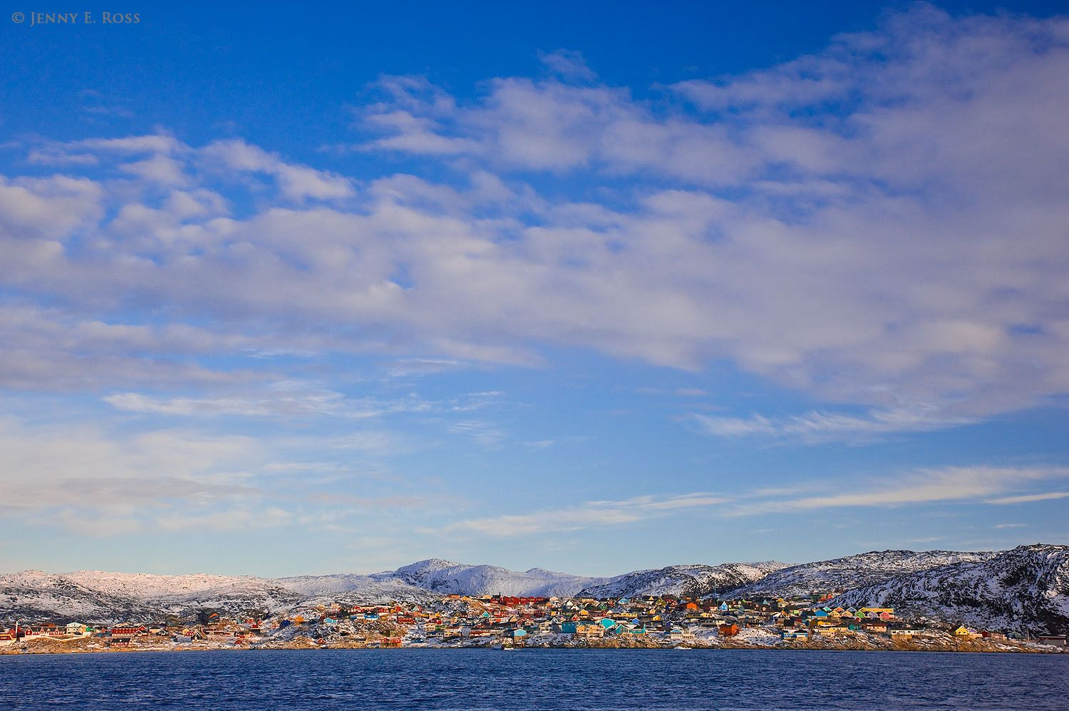 The town of Ilulissat at the edge of Disko Bay, West Greenland