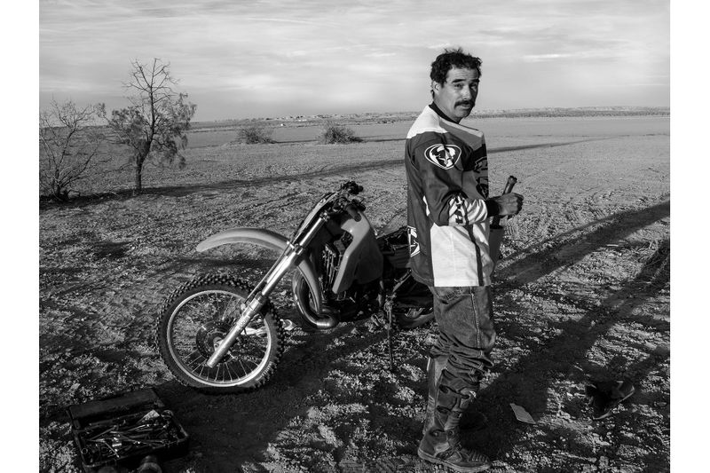 Man and Motorcycle in desert Sothern California by Minneapolis photographer John Wagner