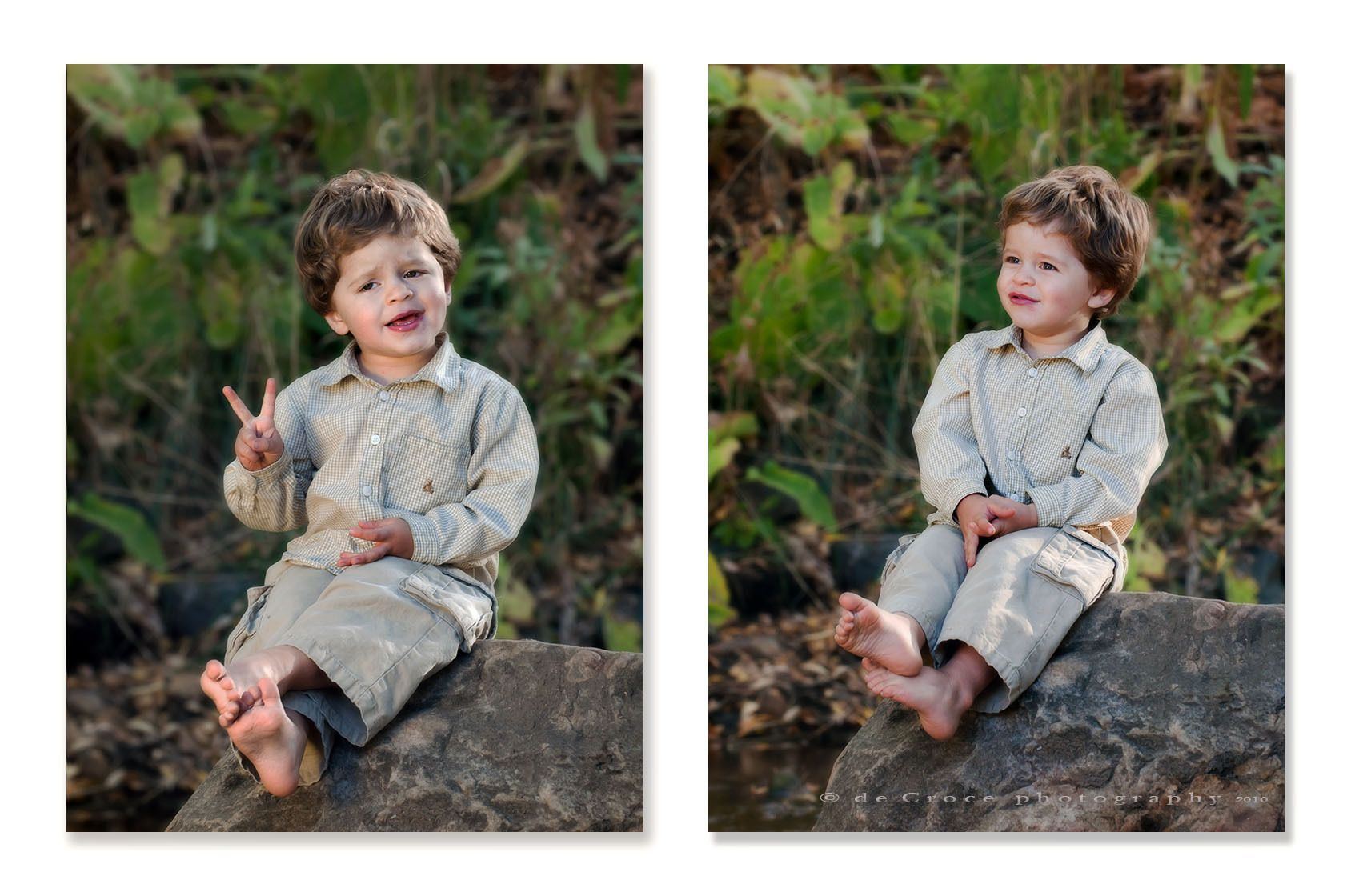 1children_photography_boy_on_rock_giving_peace_sign