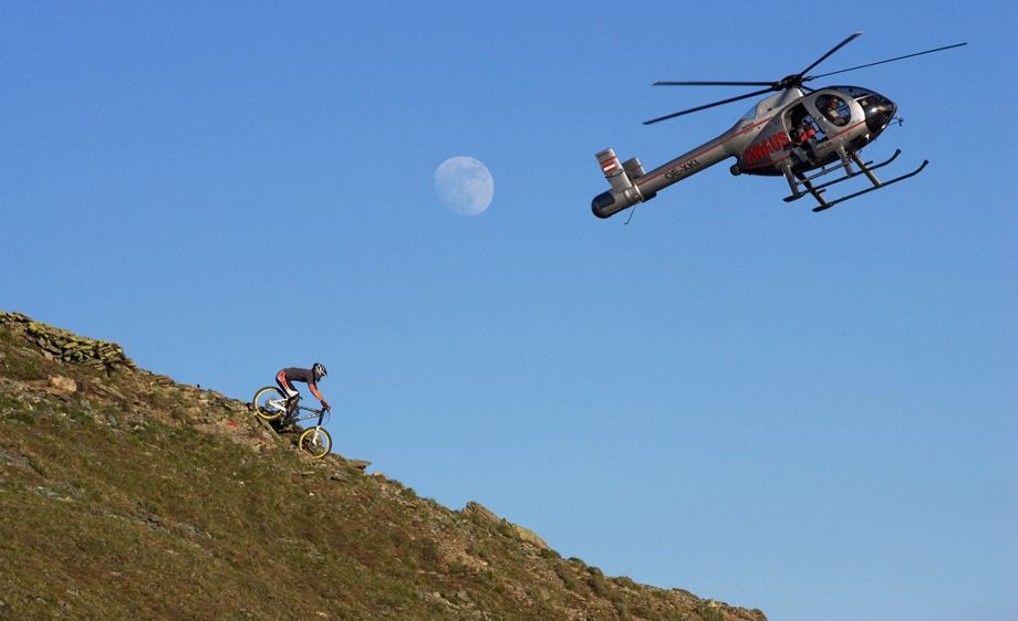 Carline Dunne and a helicopter and a full moon. Saalbach, AustriaFilming NWD