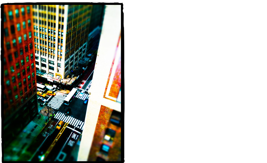 Shot through the window of our 22nd-floor Manhattan apartment...then added the tilt shift effect in Photoshop Express mobile app.Camera Phone: iPhone 3Gs