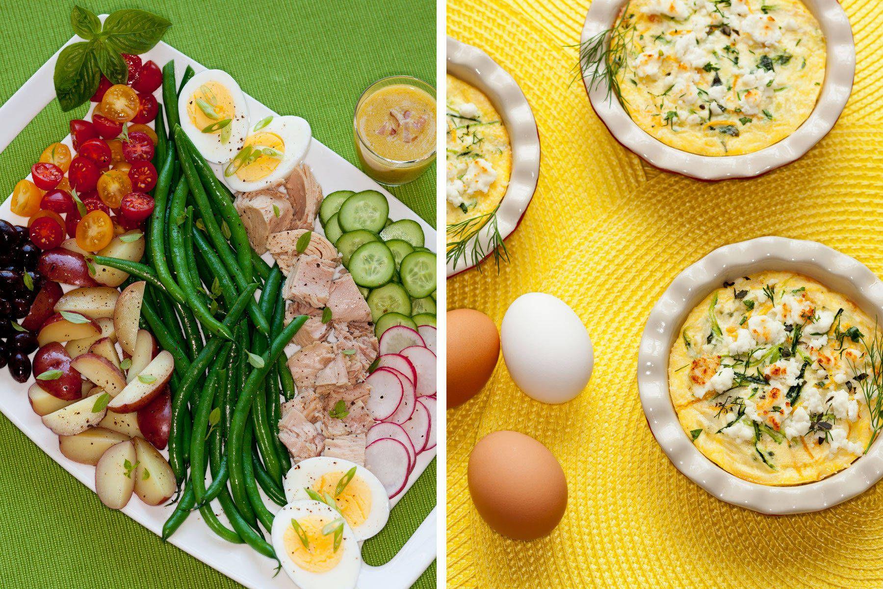 Nicoise Salad and Quiche.