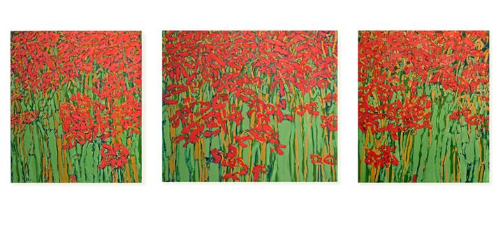 """Triptych  42"""" x 130""""  o/c"""