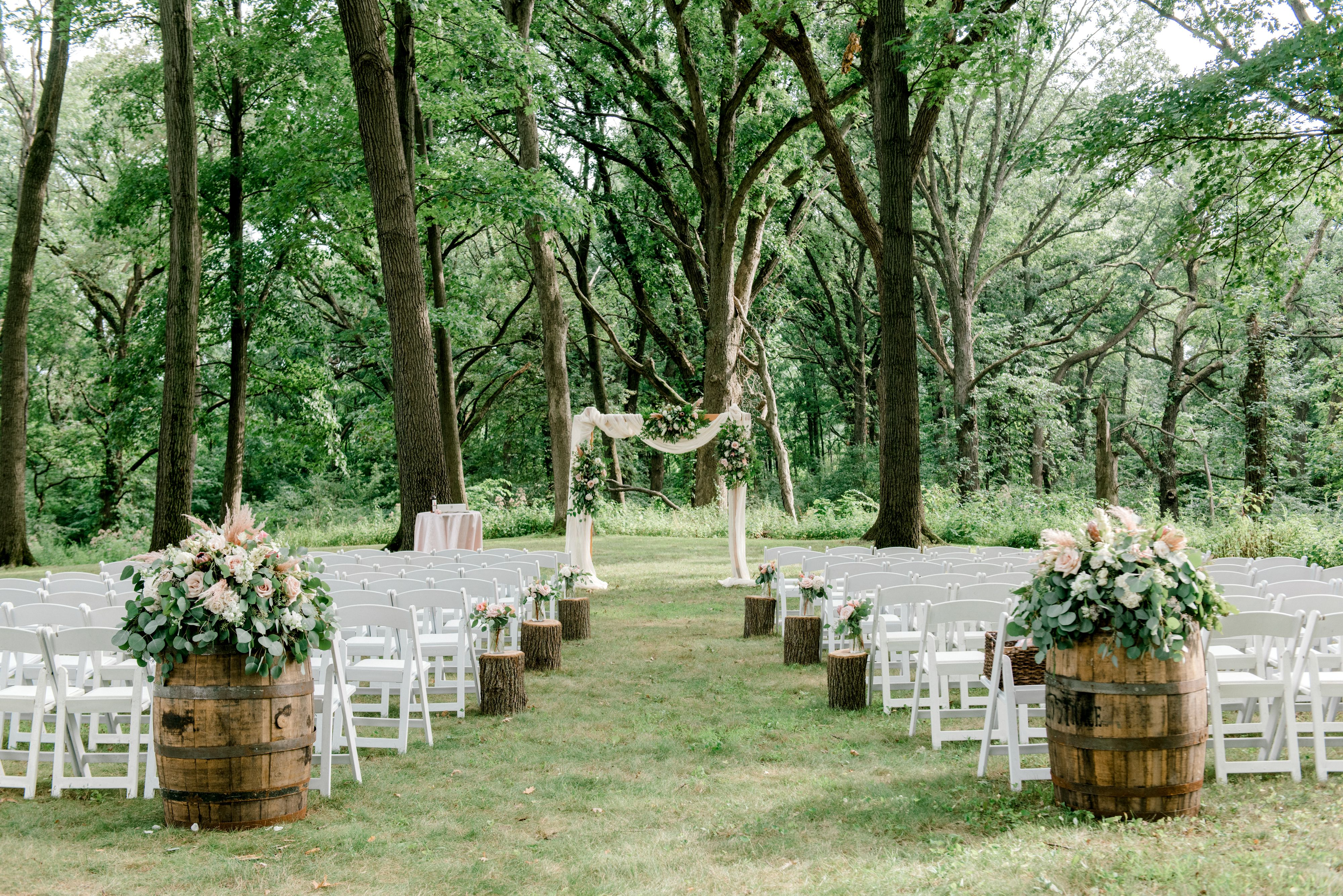 outdoor ceremony space in forest