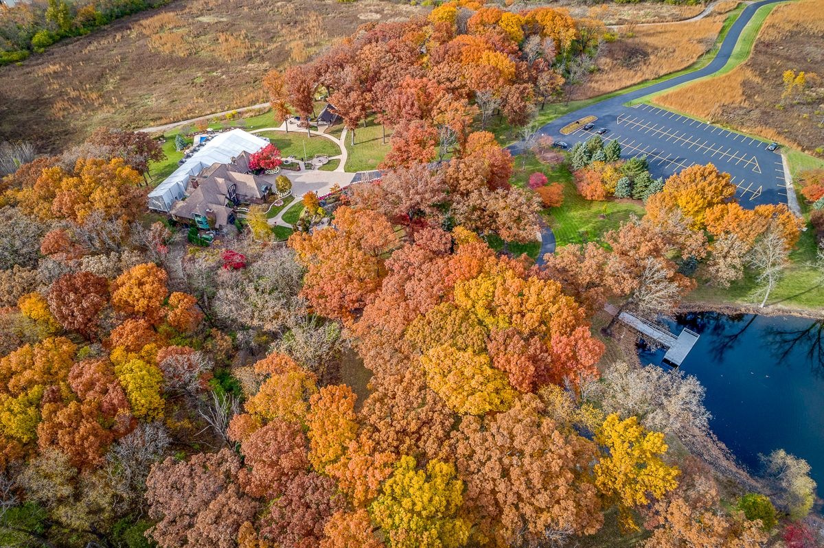 fall drone wedding venue