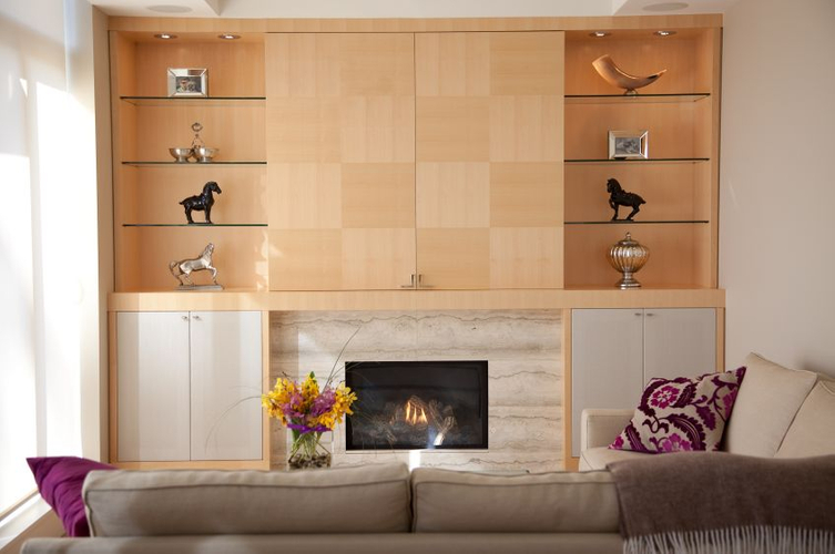 WALL UNIT Project# 710, Hidden TVQuarter Cut Maple Checkerboard PatternUpholstered Lower DoorsTravertine Fireplace