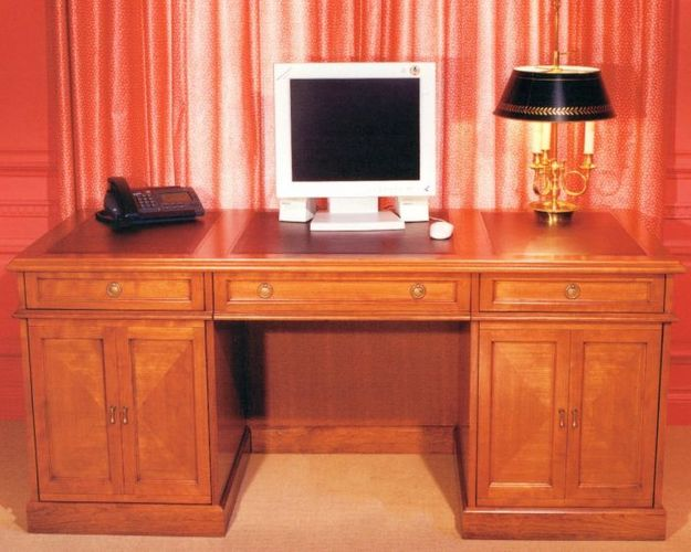 TRADITIONAL DESK Project# 102Quarter Cut CherryLeather Inlayed Desk Top
