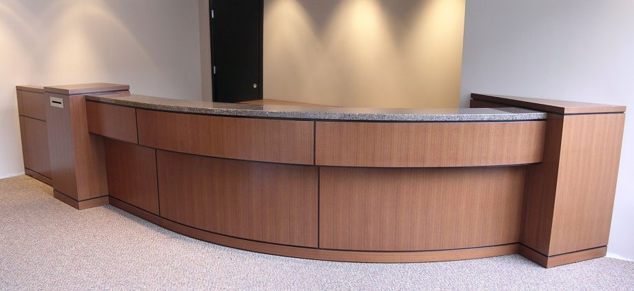 CBV RECEPTION DESK Project# 384Quarter Cut Walnut