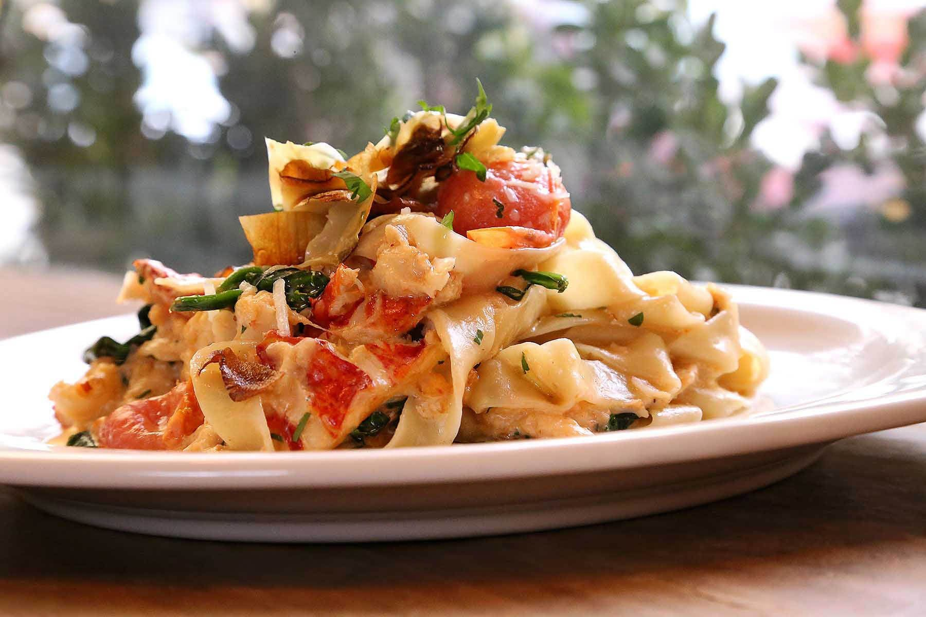 Lou-Manna-Lemon-Tagliatelle-with-Crispy-Artichokes-Spinach-Lobster-Tail