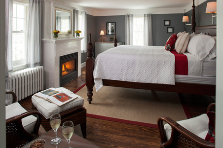 Newcastle Inn bedroom with fireplace - Interior photography.jpg