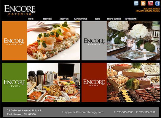 Encore catering home page
