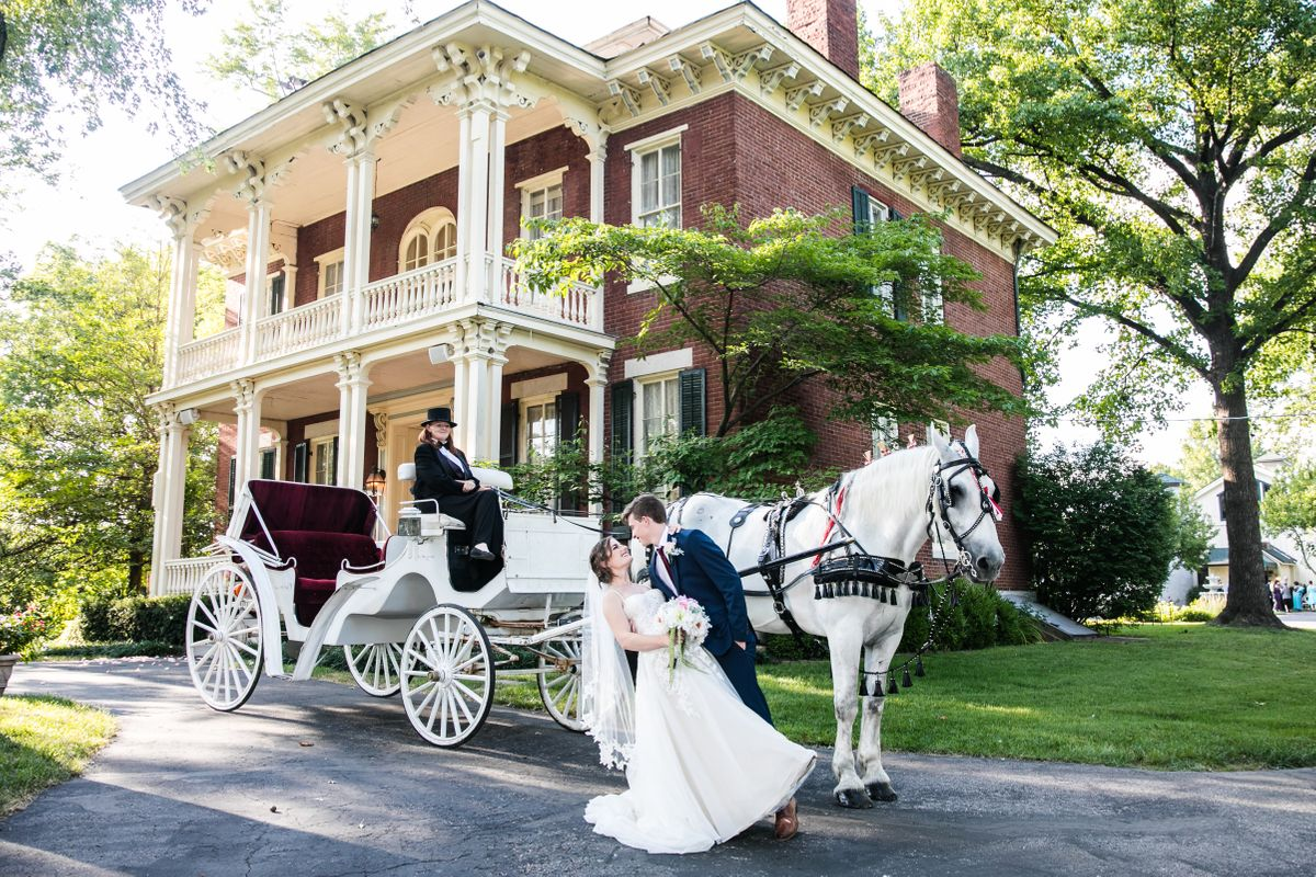 Bride and Groom at Historic Mansion