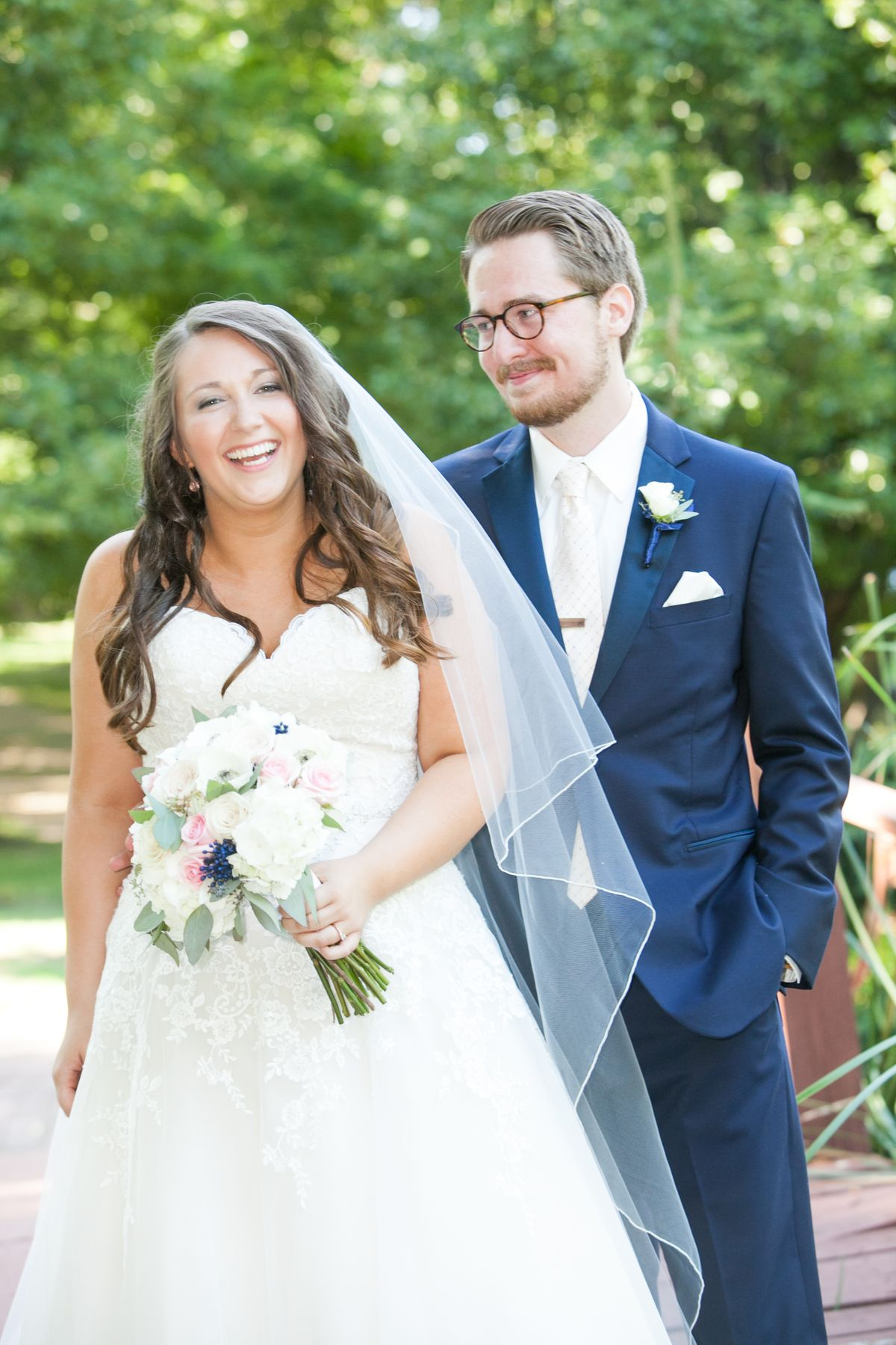 Bride with Groom and bouquet